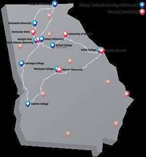 Map Of Georgia Universities.Ngumc Campus Crawl A United Methodist College Tour For High School